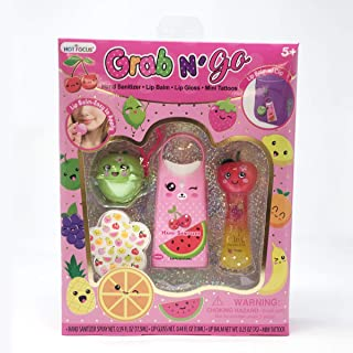 Hot Focus Grab N' Go, Fruit. Round Lip Balm, Lip Gloss, Hand Sanitizer Spray & 31 pieces of Mini Tattoos. All items come with Fruity Flavors. Gentle Formulation & Special Design for Kids/Girls