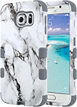 ULAK Galaxy S6 Case, Shockproof Hybrid Case fit for Galaxy s6 3in1 Hard PC Soft Silicone Hybrid Protective Cover with Raised Bevel Impact Protection for Samsung Galaxy S6 G920A, G920T-Artistic Marble