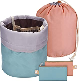 Bememo 2 Pieces Barrel Shaped Travel Bag Makeup Bag Cosmetic Bag Travel Kit Organizer Bathroom Storage Carry Case Toiletry Bags (Green and Pink)
