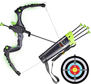 SainSmart Jr. Kids Bow and Arrows, Light Up Archery Set for Kids Outdoor Hunting Game with 5 Durable Suction Cup Arrows, L...