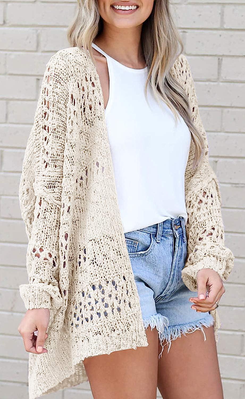 Mafulus Women's Crochet Cardigan Kimono Boho Long Sleeve Lightweight Soft Oversized Open Front Knitted Sweater Beige
