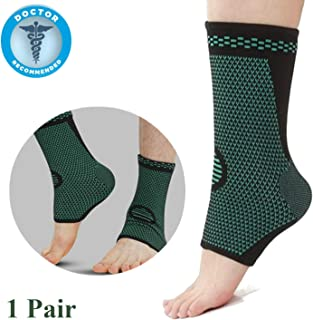 Ankle Brace Compression Foot Support Sleeve (Pair) - Medical Grade Plantar Fasciitis Foot Socks with Arch Support, Ankle Braces Supports for Injury Recovery, Joint Pain, Eases Swelling, Heel Spurs