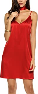 Women's Bare Shoulder Spaghetti Strap Solid Satin Loose Dress with Glossy Choker