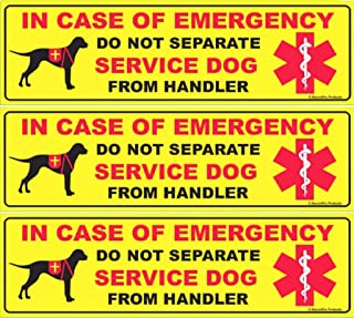 SecurePro Products 3 Do Not Separate Service Dog from Handler Decals - Premium Quality - Use as Bumper Stickers Or on Doors, Windows, Cars, Trucks, etc. Size: 10.75