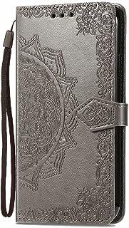 LAGUI Attractive Embossed Flip Cover Wallet Case Compatible for Realme C21Y, gray
