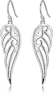 Sterling Silver Angel Wings Design Dangle Drop Earrings For Sensitive Ears By Renaissance Jewelry