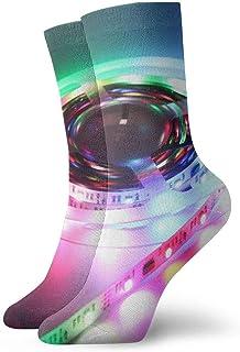 tyui7, Tira de luz LED colorida Calcetines de compresión antideslizantes Calcetines deportivos acogedores de 30 cm para hombres, mujeres, niños