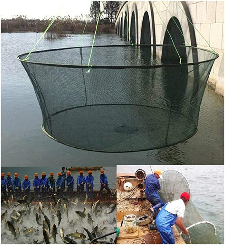 JinJin Fishing Net Fish Net Foldable Fish Landing Net Collapsible Pole Handle Durable Nylon Mesh Safe Fish Catching Landing Nets For Fishing Durable Nylon Material Mesh Safe Fish Catching Green