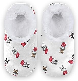 Naanle Chaussons de Noël en forme de chien carlin avec dos fermé et semelle en caoutchouc antidérapant pour intérieur ou e...