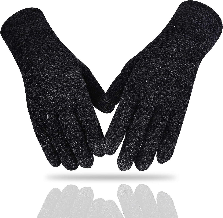CZYJOE Women's Winter Touchscreen Gloves - Soft Chenille Warm Glove - Elastic Cuff Gloves for Women