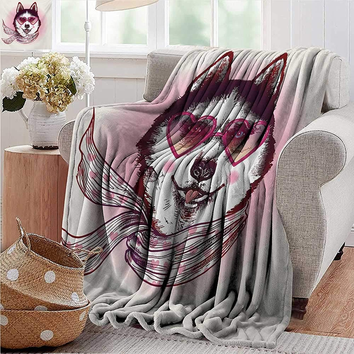 XavieraDoherty Camping Blanket,Cartoon,Hipster Husky Dog with Hearts Sunglasses and Scarf Fashion Animal Art Print,Pink Cream Black,Flannel Blankets Made with Plush Microfiber 35 x60