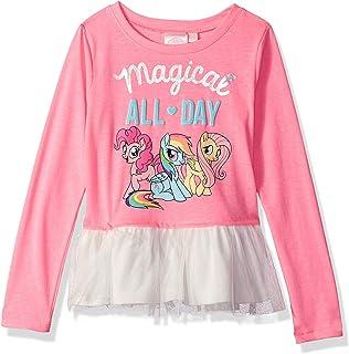 6b2fb3e7 My Little Pony Little Pinkie Pie Girl's Hot Pink Long Sleeve Ruffled T-Shirt ,