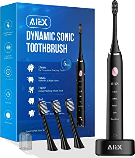 AIEX Sonic Electric Toothbrush with 3 Replacement Heads Rechargeable Electronic Toothbrush with Holder Black Travel Toothbrush with 5 Modes/IPX7 Waterproof/USB Wireless Charging/Smart Timer/Travel Bag