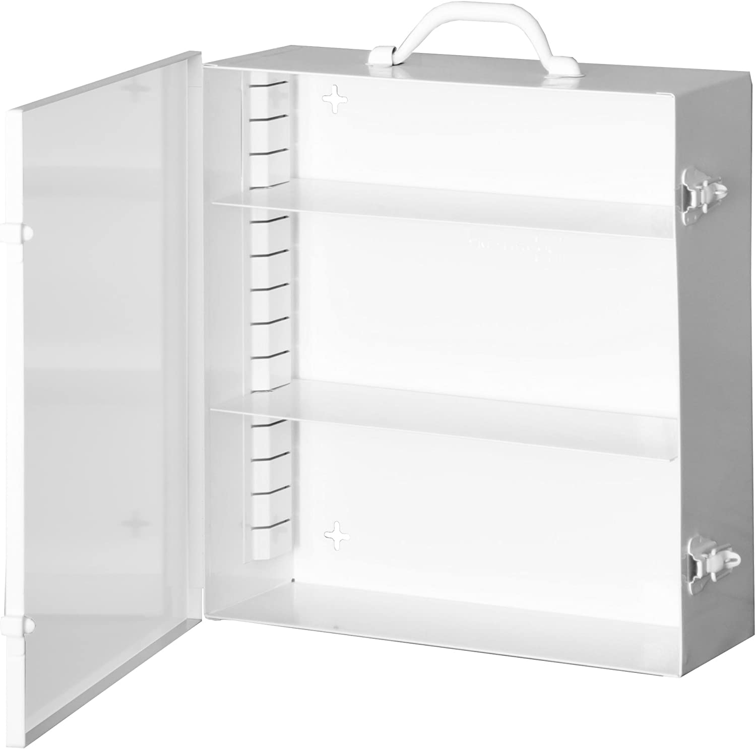 Durham 534AV-43 Cold Rolled Steel 9AV Industrial First Aid Cabinet, 5-9 16  L x 15  W x 16-5 32  H, 2 Adjustable Shelves, White Powder Coated Finish
