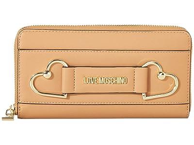 LOVE Moschino Heart Zip Around Wallet (Camel) Handbags