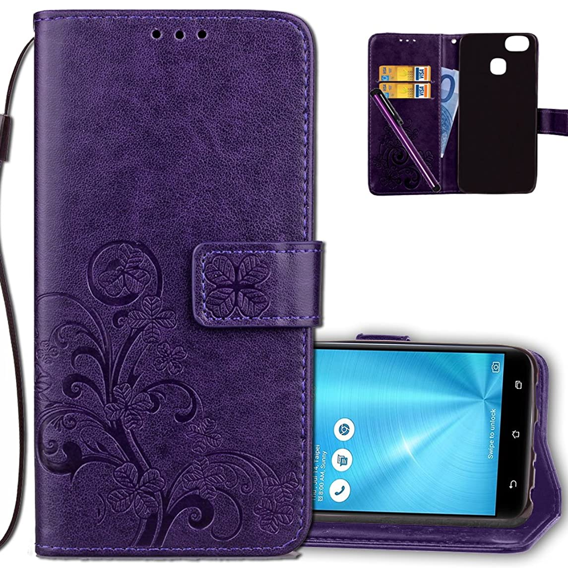 Asus ZenFone 3 Zoom Wallet Case Leather COTDINFORCA Premium PU Embossed Design Magnetic Closure Protective Cover with Card Slots for Asus ZenFone 3 Zoom (ZE553KL). Luck Clover Purple