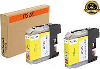 TigTak 2 Pack Replacement for Brother LC103 Compitable Yellow Ink Cartridge for Brother Printer MFC-J870DW,MFC-J450DW,MFC-J470DW,MFC-475DW,MFC-J245 (2 Pack Yellow)