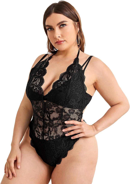 Romwe Women's Plus Size Laca Bodysuit Sleeveless Deep V Mesh Sheer Cami Bodysuit Tops
