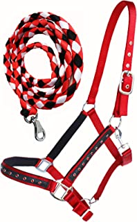 PRORIDER Nylon Horse Halter Hardware Padded Lead Rope Tack Red Rodeo Bling 606162RD