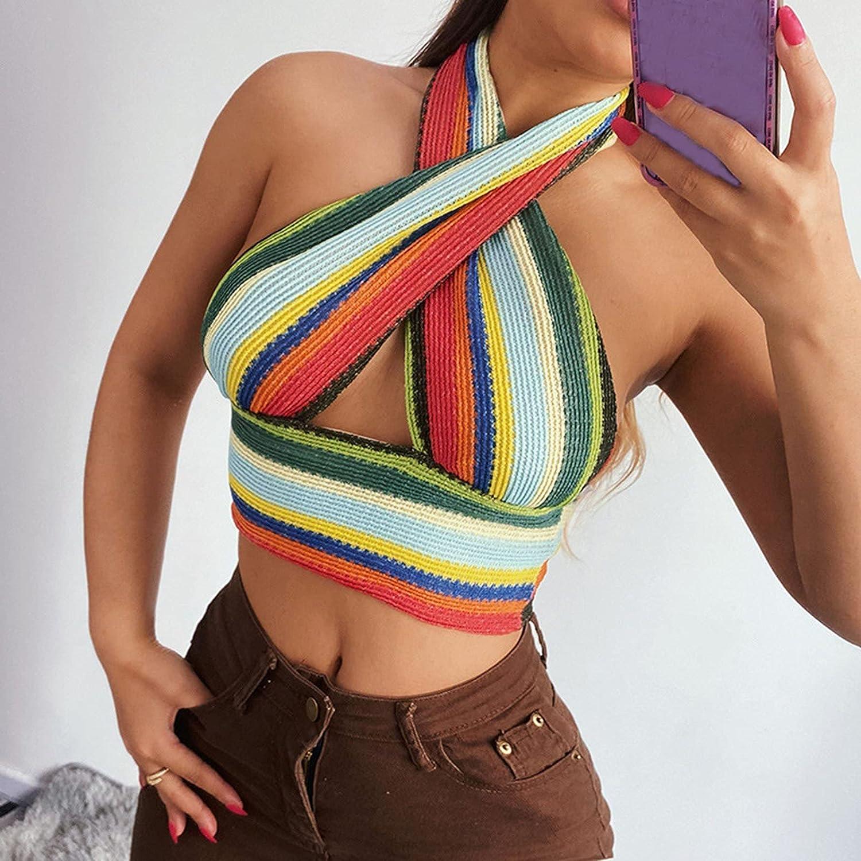 Women's Halter Crop Cami Top Striped Sleeveless Bustier Vests Fashion Streetwear