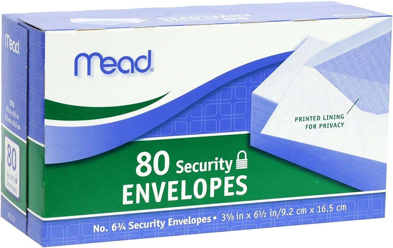 Mead Ranking TOP20 #6 3 4 Security Envelopes Genuine 80 Whit 2 Pack Count Of 75212