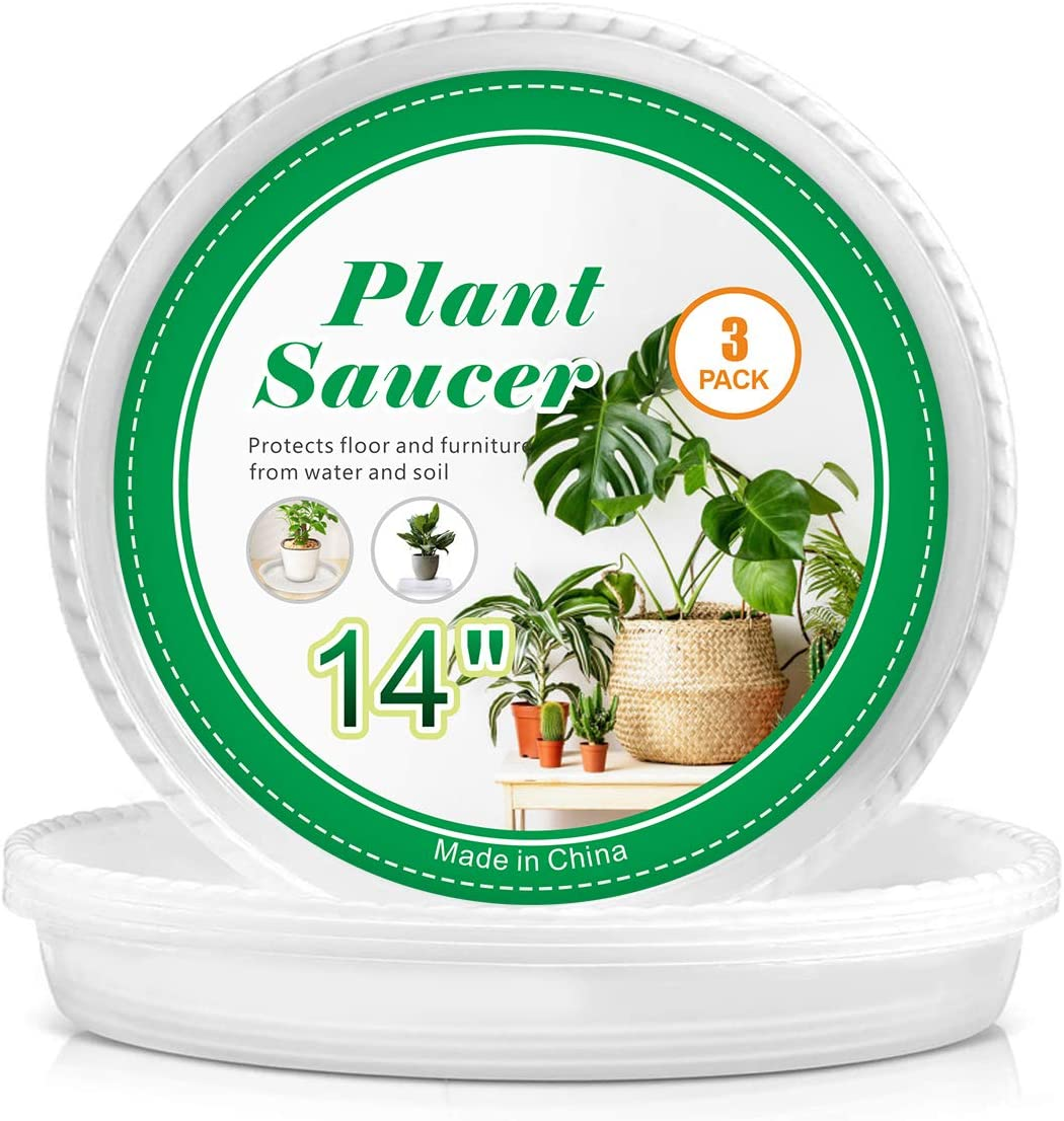 Plant Saucers - 14 inch - Durable Plastic Plant Trays, Clear Plastic Flower Plant Pot Saucer for Indoors and Outdoor (3 Pack)