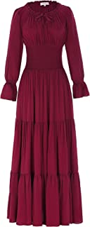 Women Long Sleeve Renaissance Pleated Maxi Dress