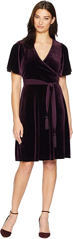 Short Sleeve Faux Wrap Velvet Dress CD8V15TR