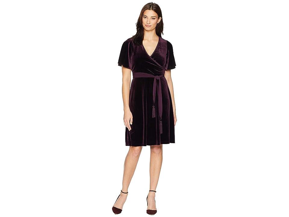 Calvin Klein Short Sleeve Faux Wrap Velvet Dress CD8V15TR (Aubergine) Women