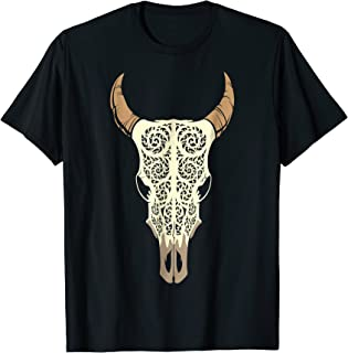 Steer Head Skull Shirt Cow Bull Horn Western Tribal Boho Tee