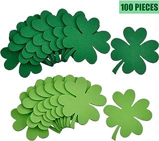 Skylety Green Shamrock Foam Wall Decoration for St. Patrick's Day, Lucky Shamrock Cutouts Foam Set (100 Pieces)