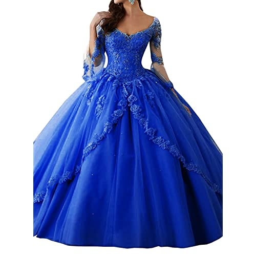 afa0b1ee66 Eldecey Women s Women s V-Neck Lace Applique Sweet 16 Ball Gown Prom  Quinceanera Dress
