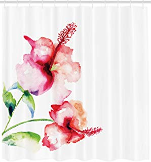 """Ambesonne Watercolor Flower Shower Curtain, Hibiscus Flowers on Plain Background in Pastel Colors Nature Theme, Cloth Fabric Bathroom Decor Set with Hooks, 84"""" Extra Long, White Red"""
