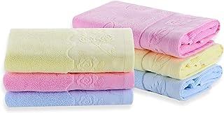 Futone Cotton Hand Towels Set,Face Towels Bath Towel Washcloths Gym Towels for Bathroom Men Women, 100% Cotton, 13 x 29 (6 PCS - Pink Yellow Blue)