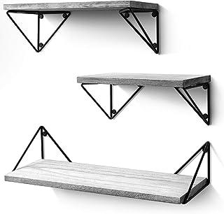 BAYKA Floating Shelves Wall Mounted Set of 3, Rustic Wood Wall Shelves for Living Room,..