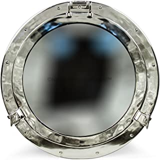 Large Beautiful Silver Metal Mirror | Nickel Aluminum Porthole Wall Hanging Mirror | Nautical Pirate's Antique Decor | Mar...
