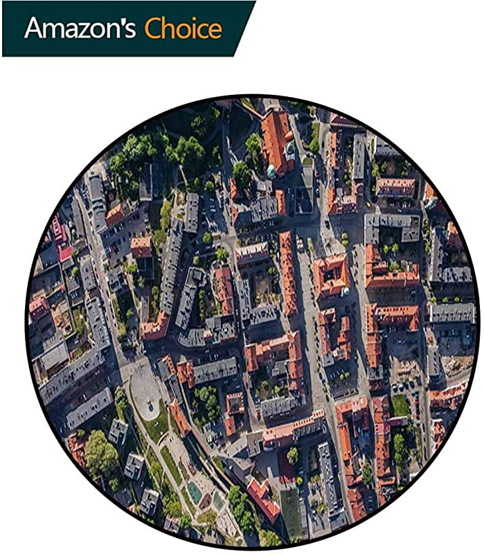 RUGSMAT City Small Round Rug Carpet Aerial View Of Olesnica In Poland Industrial Landscape Buildings Roads Trees Door Mat Indoors Bathroom Mats Non Slip Diameter 47 Inch Salmon Grey Green