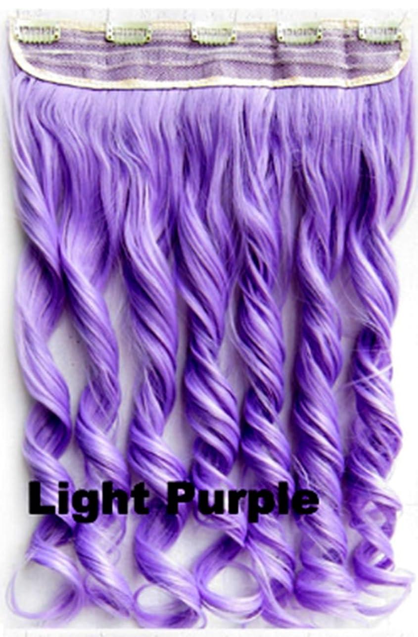 入学する仕えるもっと少なくDoyvanntgo 60cm / 130g 5つのクリップヘア、長い拡張子のカーリーワンピースカーリーウィッグ複数のカラーオプション付き (Color : Light)