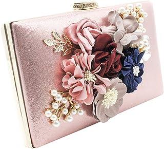 Cckuu Womens Flower Diamond Pearl Wedding Bride Evening Clutch Shoulder Handbag