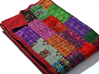 Sophia Art Indian Quilt -Vintage Quilt Old Patola Indian Silk Sari Kantha Quilted Patchwork Bedspread Bohemian Kantha Throws