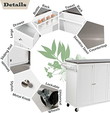 GLACER Kitchen Island Cart on Wheels, Rolling Kitchen Cart with Stainless Steel Countertop, Rolling Kitchen Island for Kitche