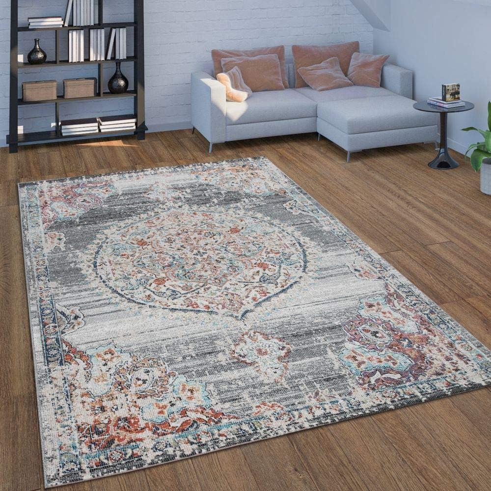 Paco Home In  & Outdoor Teppich Für Balkon Terrasse, Kurzflor Mit  Orient Muster In Grau, Grösse8x8 cm
