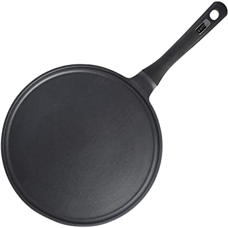 S·KITCHN Crepe Pan Nonstick Dosa Pan, Tawa Pan for Roti Indian, Non-Stick Pancake Griddle Compatible with Induction Cooktop, Comal for Tortillas, Griddle Pan for Stove Top - 11 Inches