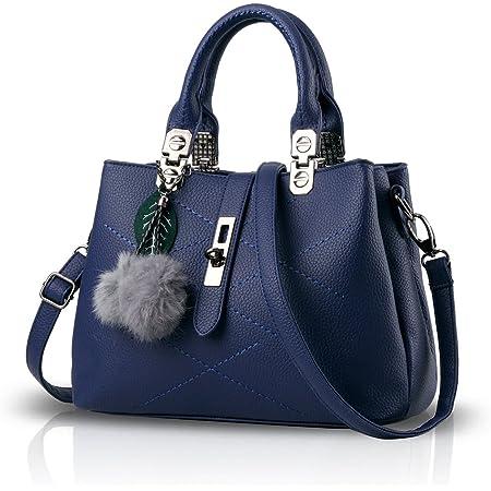 NICOLE & DORIS 2021 Neue Frauen Tasche Damen Leder Handtasche Mode Umhängetasche Mit Pompon abnehmbarem Schultergurt Handtasche Blau