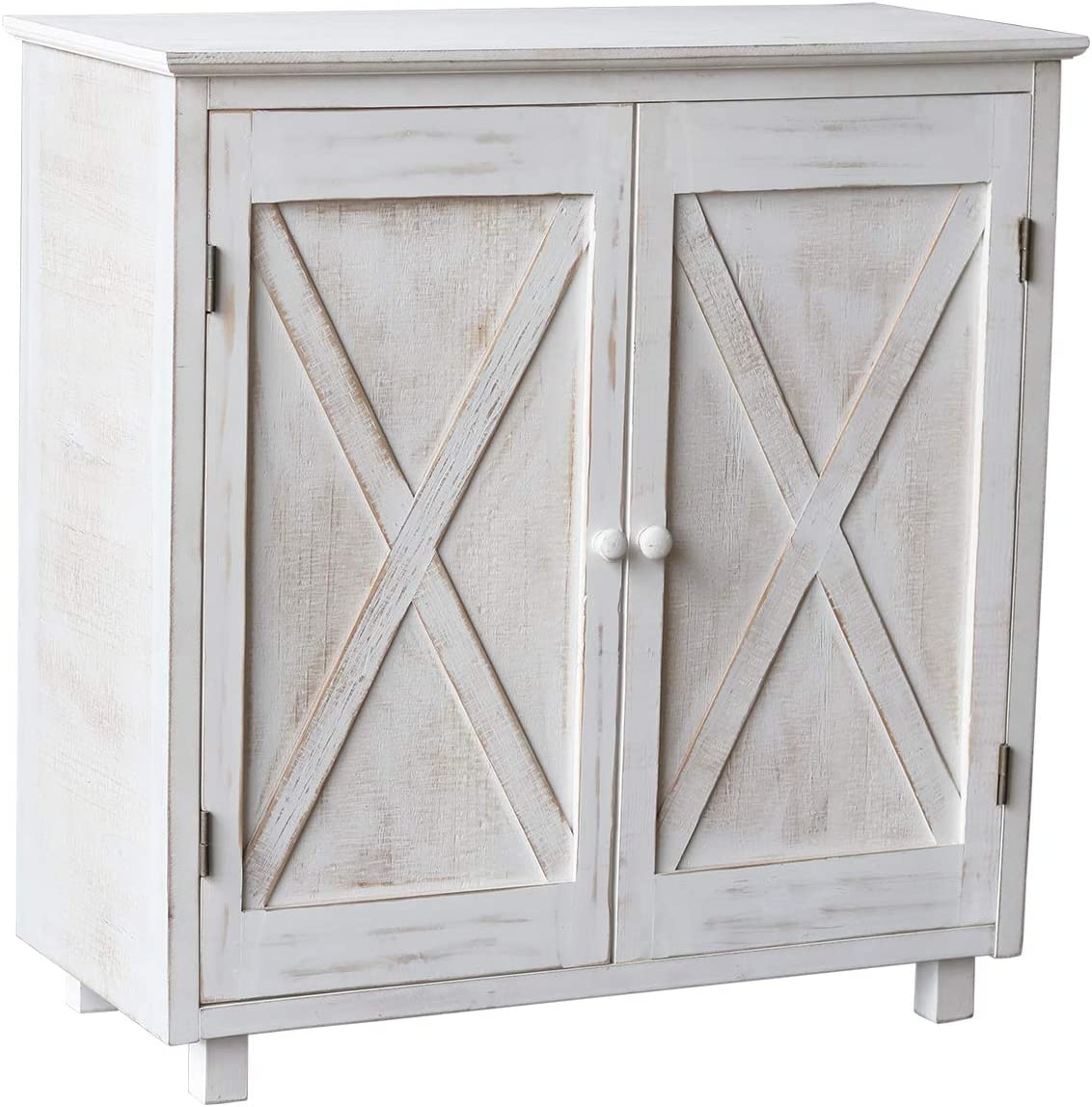Farmhouse Barn Door Accent Wood Storage Cabinet, Entryway Bar Storage Table, Country Style Furniture, Whitewashed, 32.25