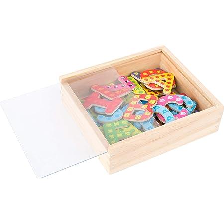Small Foot 10732magnético de Letras en Caja de Madera, 37Letras Designs de Colores, Jugador isch el Aprendizaje ABC y Primera Palabras Escritura