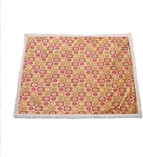 Zara Henry Floral Plush Blanket, Abstract Style Flower Pattern in Squares Meadow Garden Picnic Artwork Print Pink and Yellow Wool Blanket