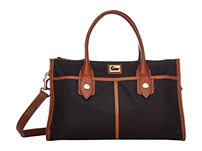 Dooney & Bourke Camden Satchel (Black/Dark Chocolate Trim) Satchel Handbags