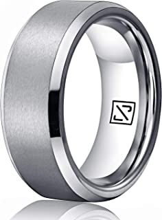 Luxffield 6mm 8mm Silver/Black/Rose Gold Tungsten Wedding Band for Men Women Engagement Wedding Band Matte Polished Beveled Edge Comfort Fit Size 7.5-13