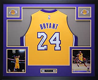 2ca6cba58 Kobe Bryant Autographed Gold Lakers Jersey - Beautifully Matted and Framed  - Hand Signed By Kobe